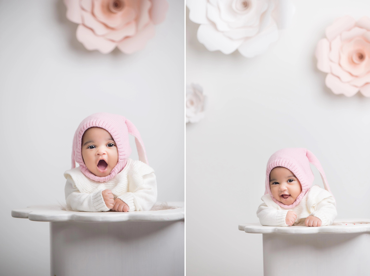 Baby girl smiles during Chicago photo session.